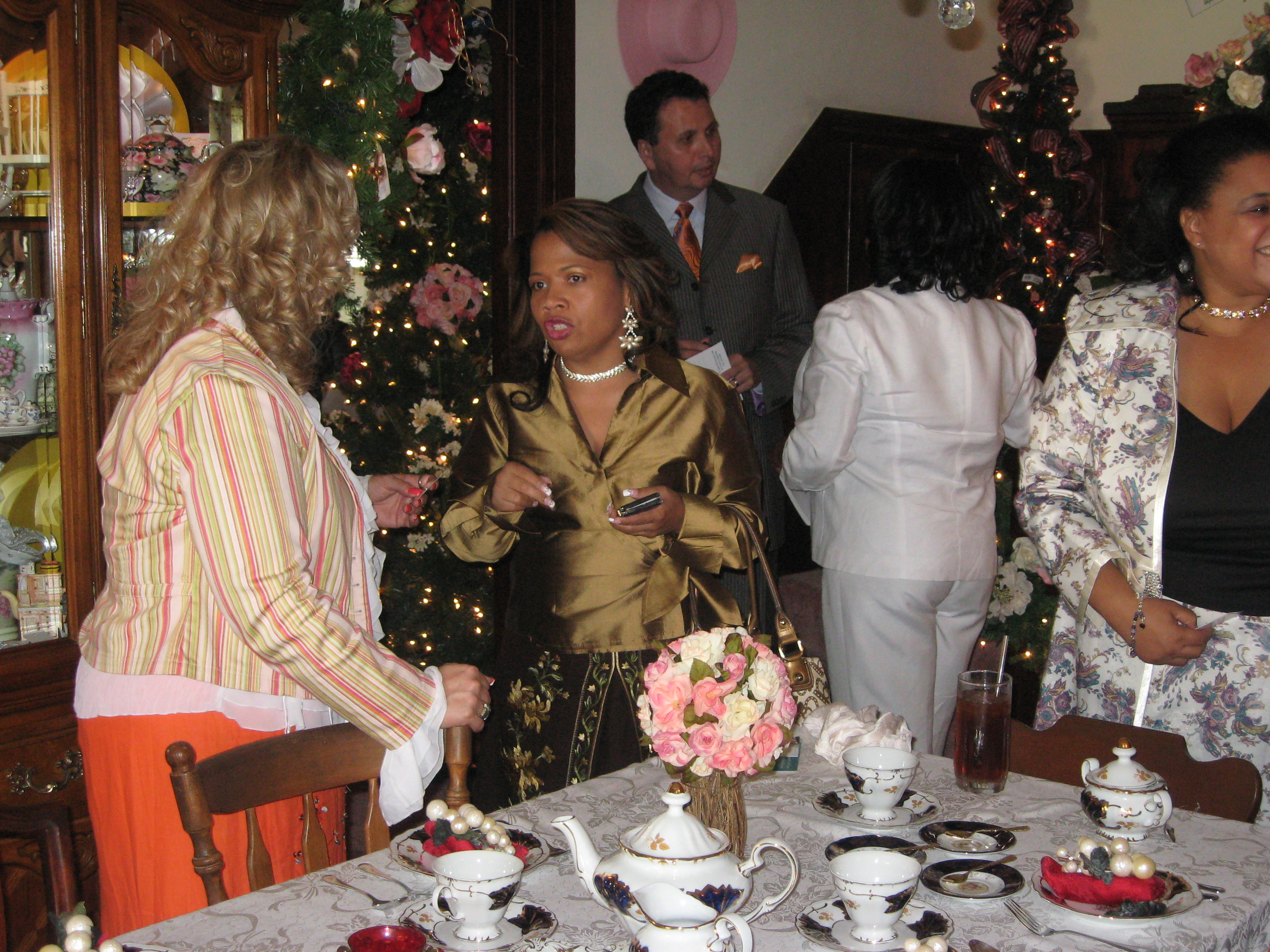 Coach Trudy in Gold Jacket at High Tea