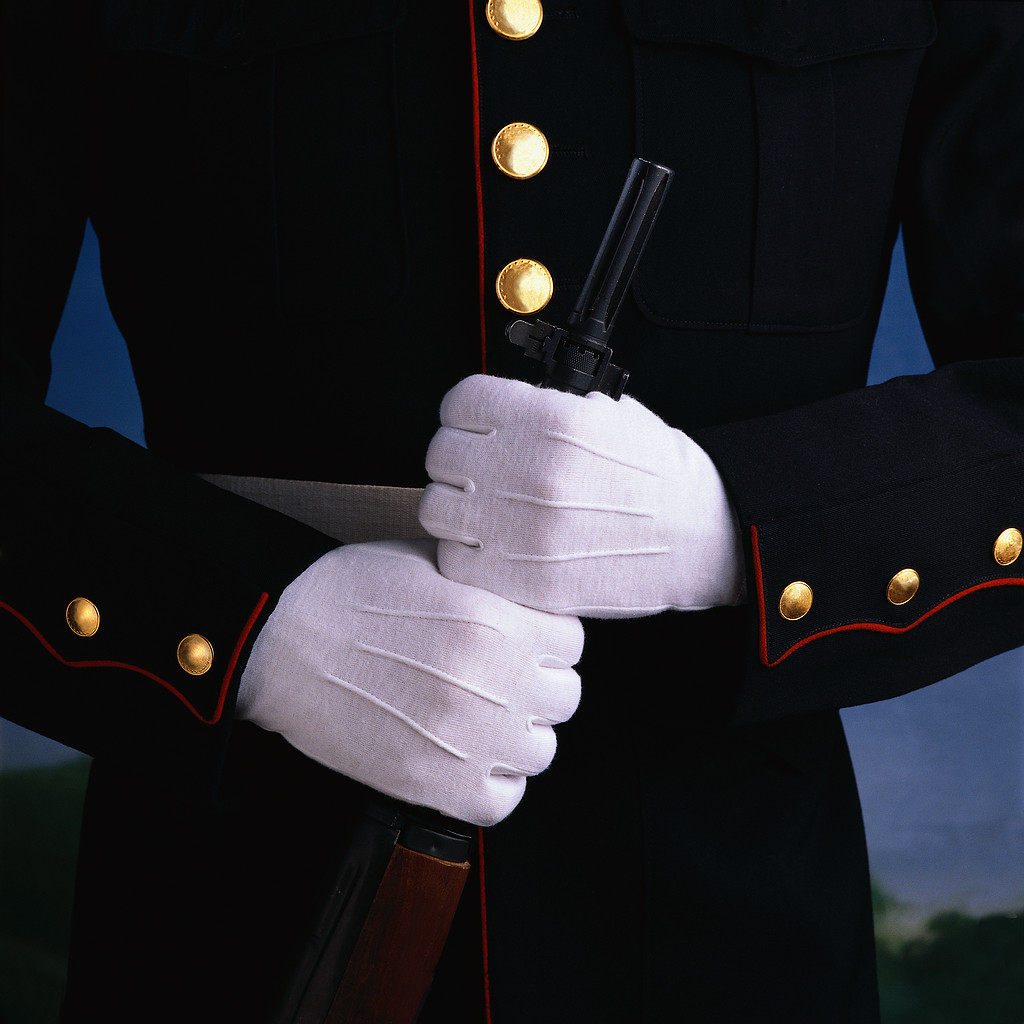 Military Officer Wearing White Gloves